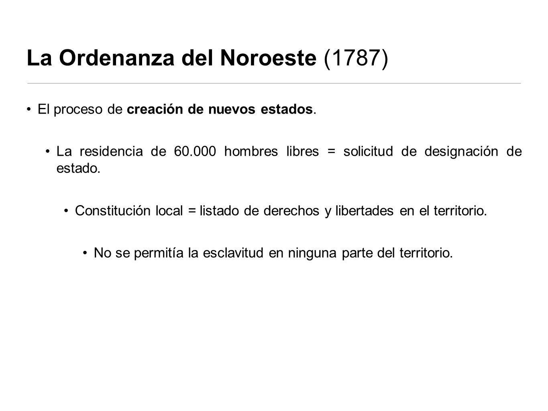 La Ordenanza del Noroeste (1787) El proceso de creación de nuevos estados.
