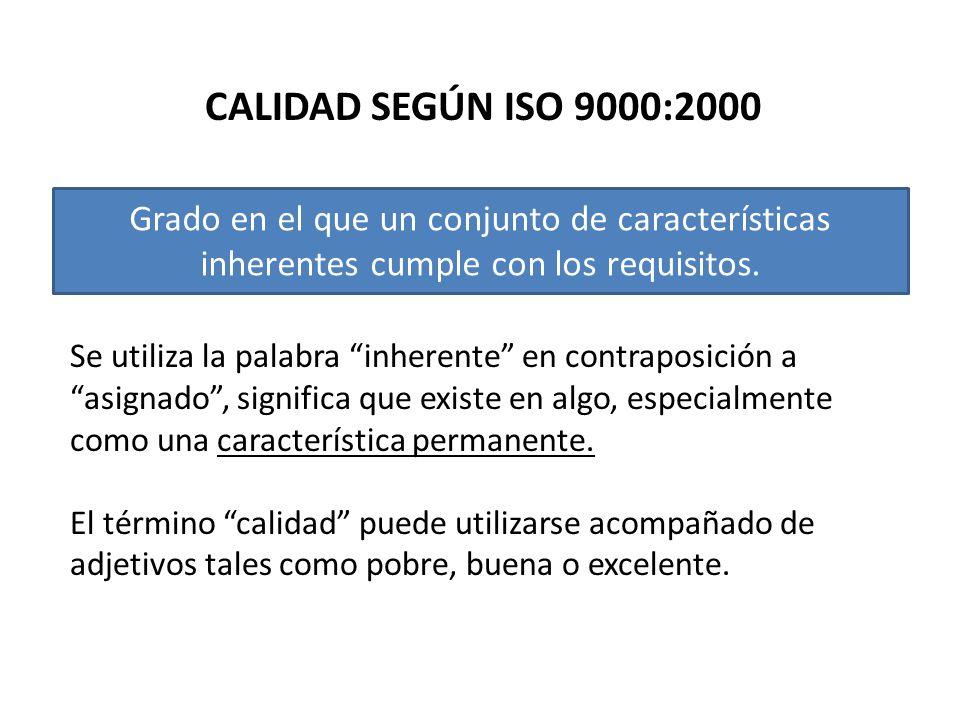 CALIDAD SEGÚN ISO 9000:2000 Grado en el que un conjunto de características inherentes cumple con los requisitos. Se utiliza la palabra inherente en co