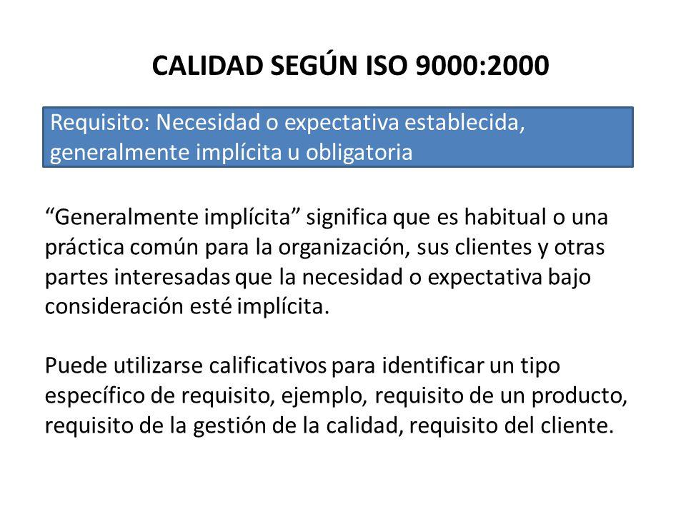 CALIDAD SEGÚN ISO 9000:2000 Requisito: Necesidad o expectativa establecida, generalmente implícita u obligatoria Generalmente implícita significa que es habitual o una práctica común para la organización, sus clientes y otras partes interesadas que la necesidad o expectativa bajo consideración esté implícita.