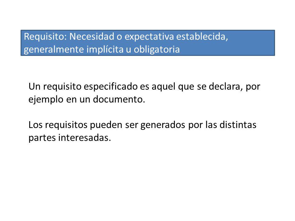 Un requisito especificado es aquel que se declara, por ejemplo en un documento. Los requisitos pueden ser generados por las distintas partes interesad