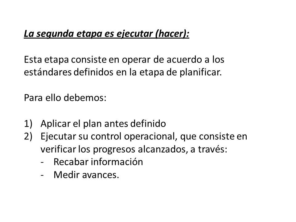 La segunda etapa es ejecutar (hacer): Esta etapa consiste en operar de acuerdo a los estándares definidos en la etapa de planificar. Para ello debemos