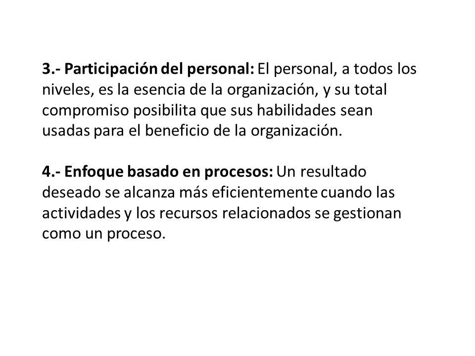 3.- Participación del personal: El personal, a todos los niveles, es la esencia de la organización, y su total compromiso posibilita que sus habilidades sean usadas para el beneficio de la organización.