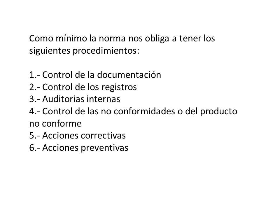 Como mínimo la norma nos obliga a tener los siguientes procedimientos: 1.- Control de la documentación 2.- Control de los registros 3.- Auditorias internas 4.- Control de las no conformidades o del producto no conforme 5.- Acciones correctivas 6.- Acciones preventivas