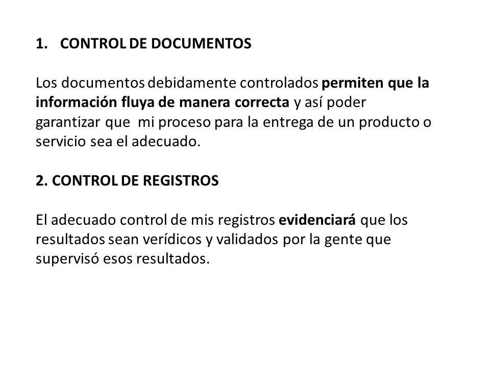 1.CONTROL DE DOCUMENTOS Los documentos debidamente controlados permiten que la información fluya de manera correcta y así poder garantizar que mi proceso para la entrega de un producto o servicio sea el adecuado.