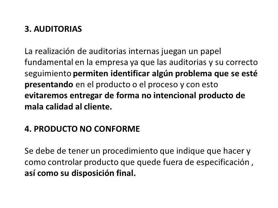 3. AUDITORIAS La realización de auditorias internas juegan un papel fundamental en la empresa ya que las auditorias y su correcto seguimiento permiten