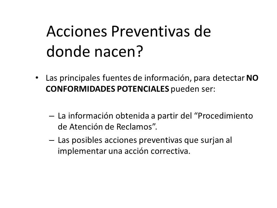 Acciones Preventivas de donde nacen? Las principales fuentes de información, para detectar NO CONFORMIDADES POTENCIALES pueden ser: – La información o
