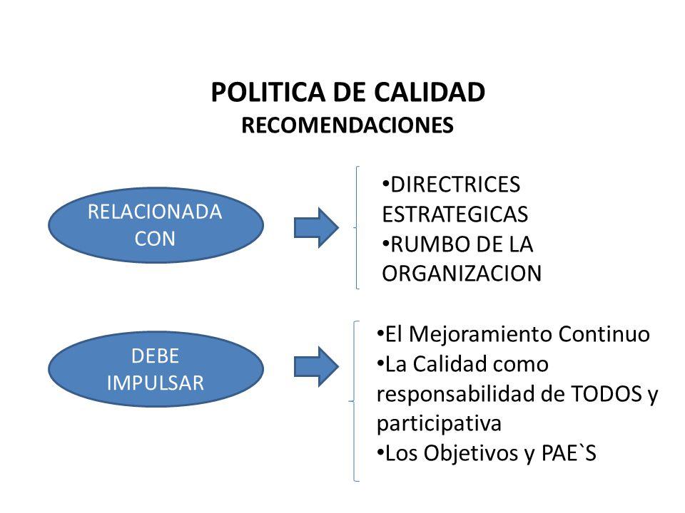 POLITICA DE CALIDAD RECOMENDACIONES RELACIONADA CON DIRECTRICES ESTRATEGICAS RUMBO DE LA ORGANIZACION DEBE IMPULSAR El Mejoramiento Continuo La Calida