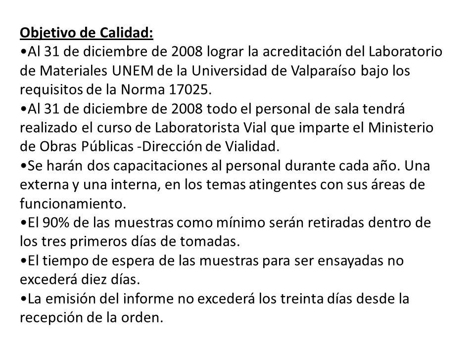 Objetivo de Calidad: Al 31 de diciembre de 2008 lograr la acreditación del Laboratorio de Materiales UNEM de la Universidad de Valparaíso bajo los req