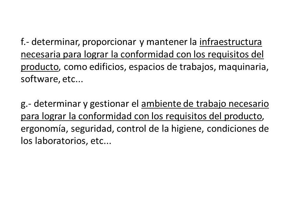 f.- determinar, proporcionar y mantener la infraestructura necesaria para lograr la conformidad con los requisitos del producto, como edificios, espacios de trabajos, maquinaria, software, etc...