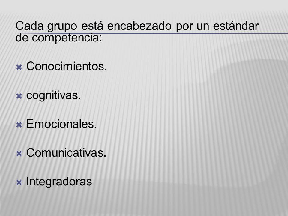 Cada grupo está encabezado por un estándar de competencia: Conocimientos. cognitivas. Emocionales. Comunicativas. Integradoras