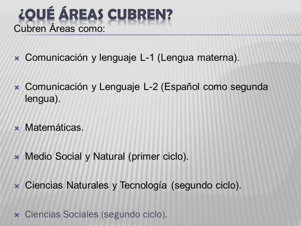 Cubren Áreas como: Comunicación y lenguaje L-1 (Lengua materna). Comunicación y Lenguaje L-2 (Español como segunda lengua). Matemáticas. Medio Social