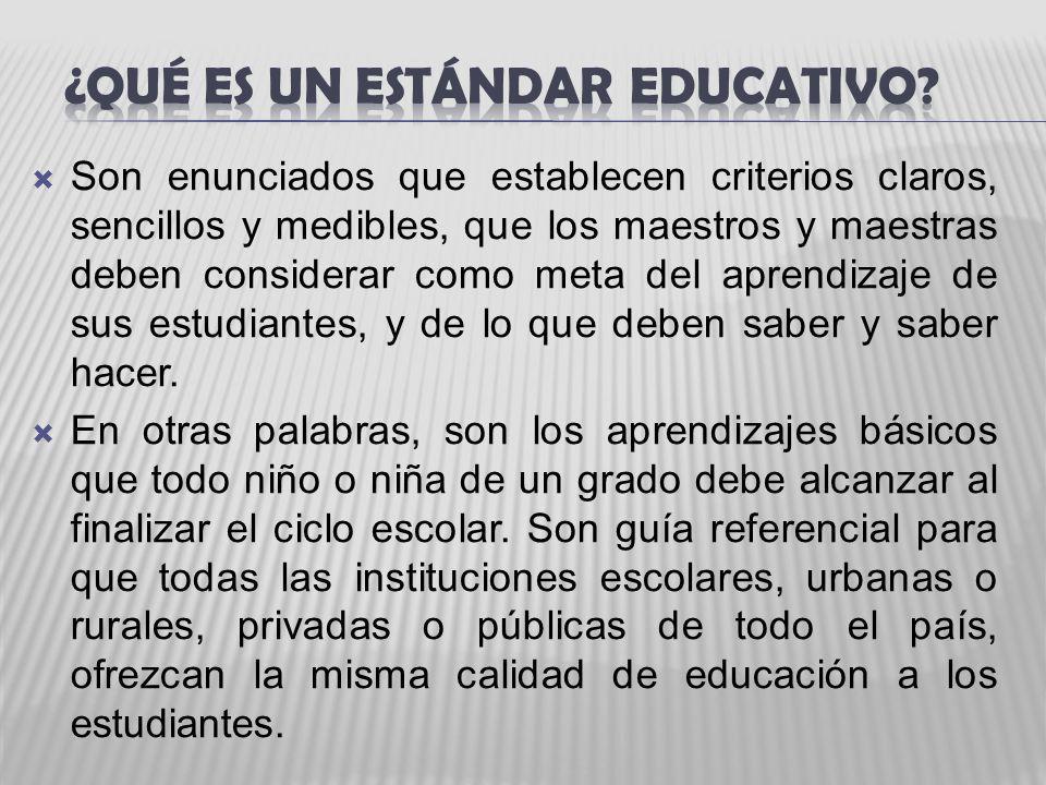 Son enunciados que establecen criterios claros, sencillos y medibles, que los maestros y maestras deben considerar como meta del aprendizaje de sus es