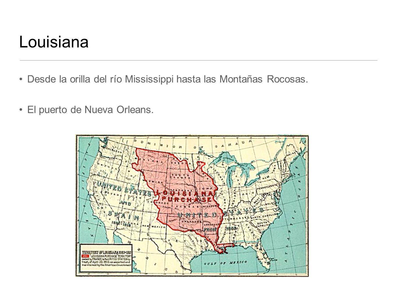 Louisiana Desde la orilla del río Mississippi hasta las Montañas Rocosas. El puerto de Nueva Orleans.