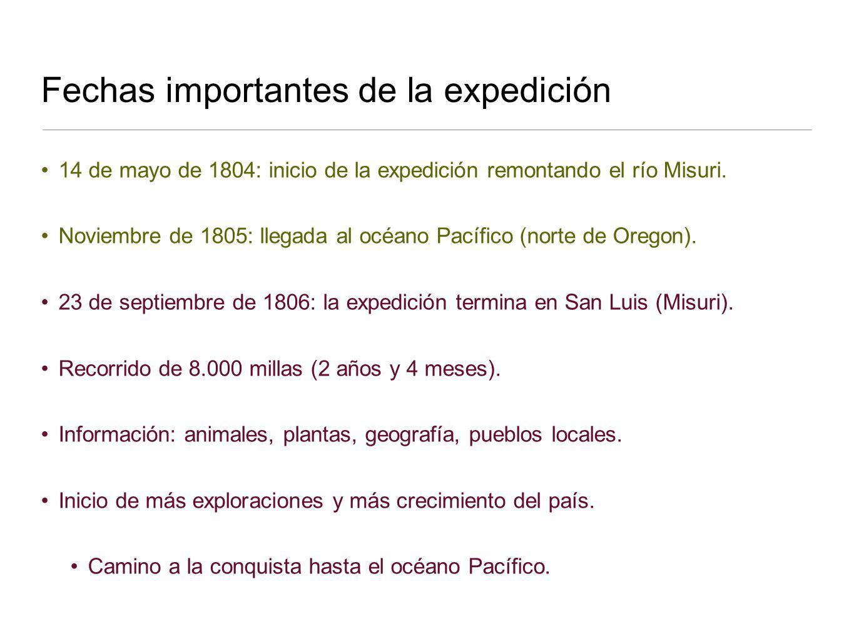 14 de mayo de 1804: inicio de la expedición remontando el río Misuri. Noviembre de 1805: llegada al océano Pacífico (norte de Oregon). 23 de septiembr