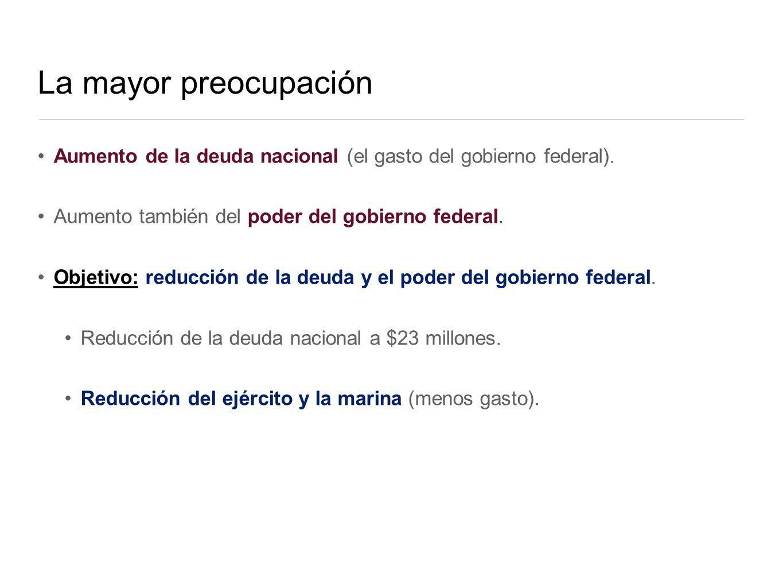 La mayor preocupación Aumento de la deuda nacional (el gasto del gobierno federal). Aumento también del poder del gobierno federal. Objetivo: reducció