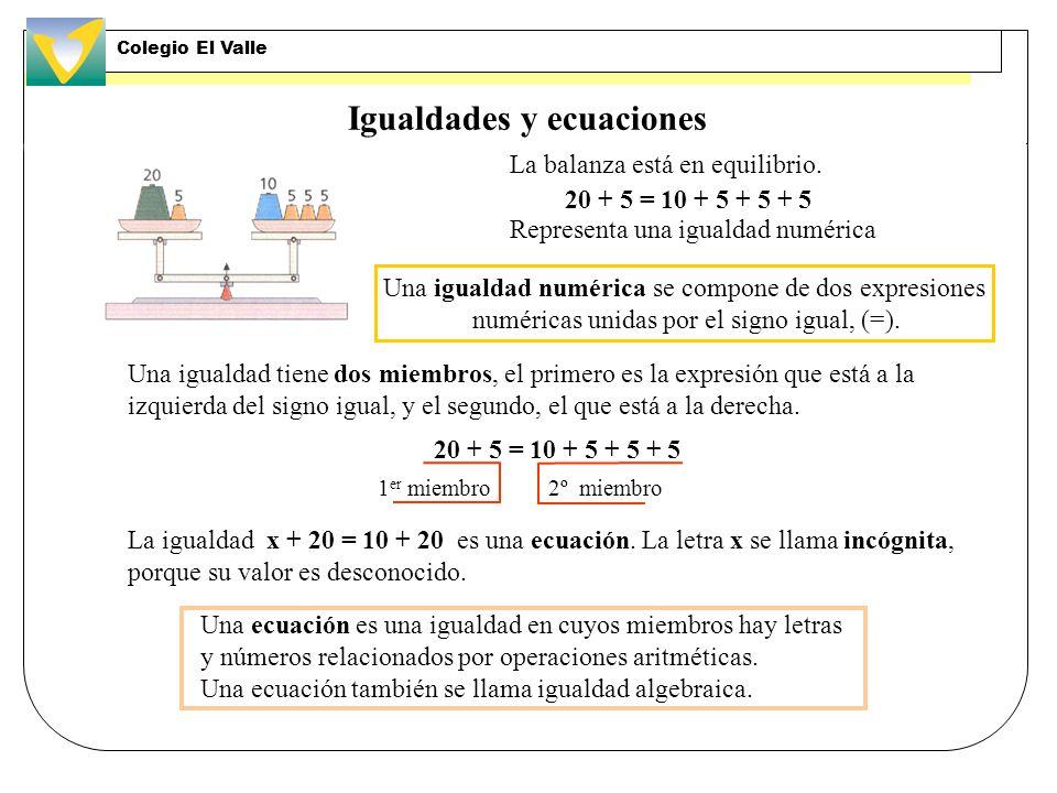 Igualdades y ecuaciones La balanza está en equilibrio.