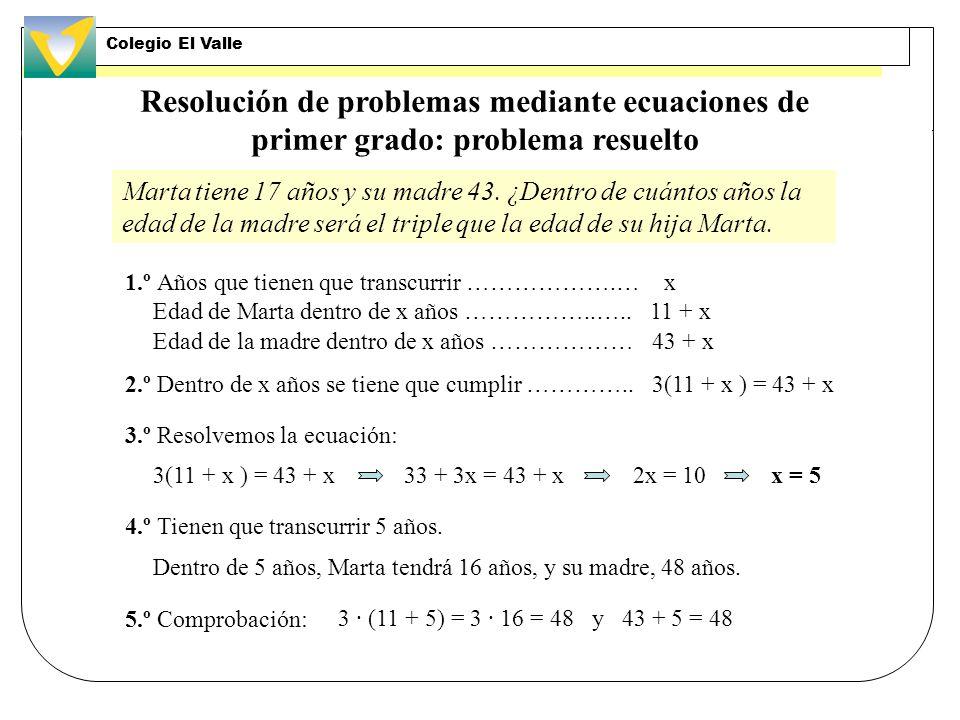 Resolución de problemas mediante ecuaciones de primer grado 1. er paso: Expresar el enunciado en lenguaje algebraico. 3. er paso: Resolver la ecuación