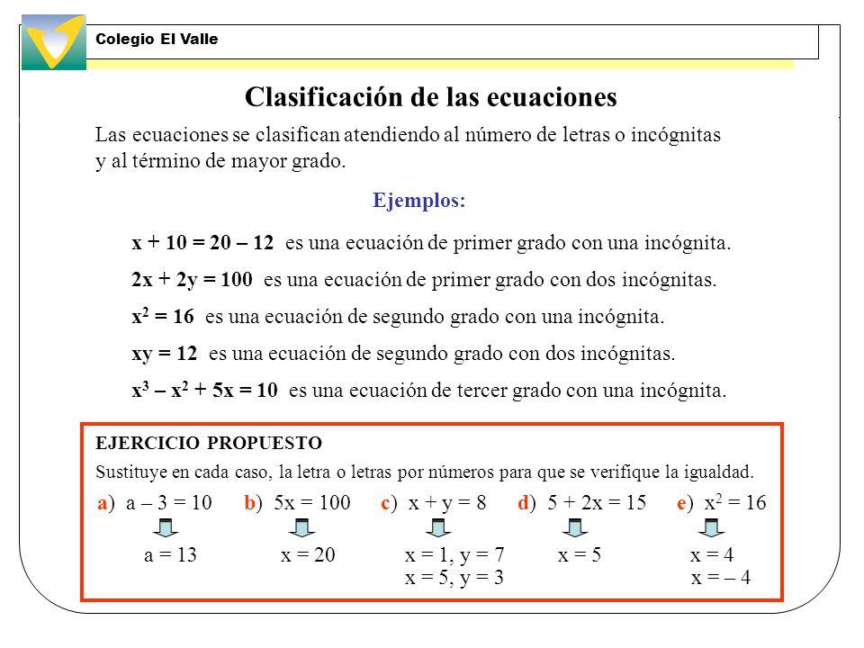 Clasificación de las ecuaciones Las ecuaciones se clasifican atendiendo al número de letras o incógnitas y al término de mayor grado.