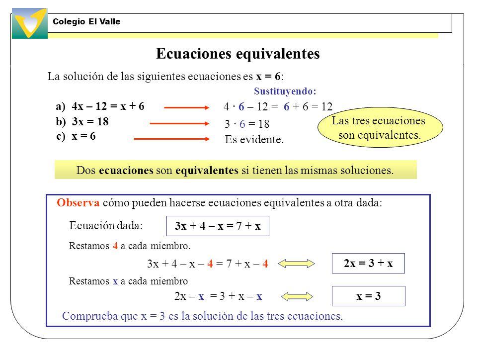 Ecuación de segundo grado completa Las soluciones de de esta ecuación se obtienen aplicando las fórmulas: Término cuadrático Término lineal Término independiente Por ejemplo, las soluciones de la ecuación 2x 2 + 3x –35 = 0 son: Comprobación: 2 · 3,5 2 + 3 · 3,5 – 35 = 24,5 + 10,5 – 35 = 0 2 · (–5) 2 + 3 · (–5) – 35 = 50 – 15 – 35 = 0 Es del tipo ax 2 + bx + c = 0 Colegio El Valle