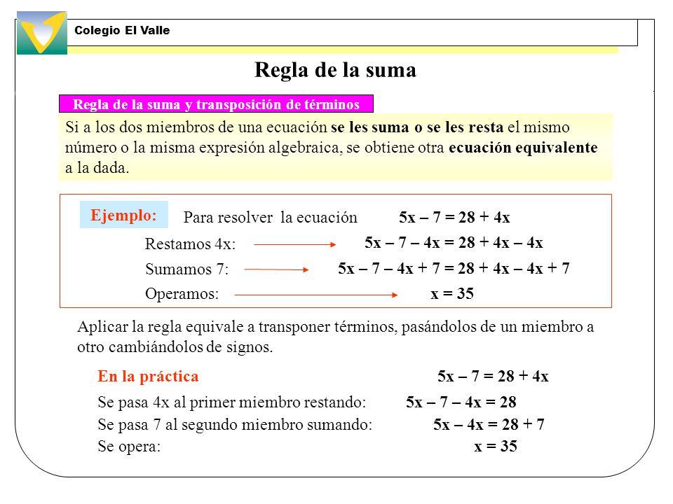 Regla de la suma Si a los dos miembros de una ecuación se les suma o se les resta el mismo número o la misma expresión algebraica, se obtiene otra ecuación equivalente a la dada.