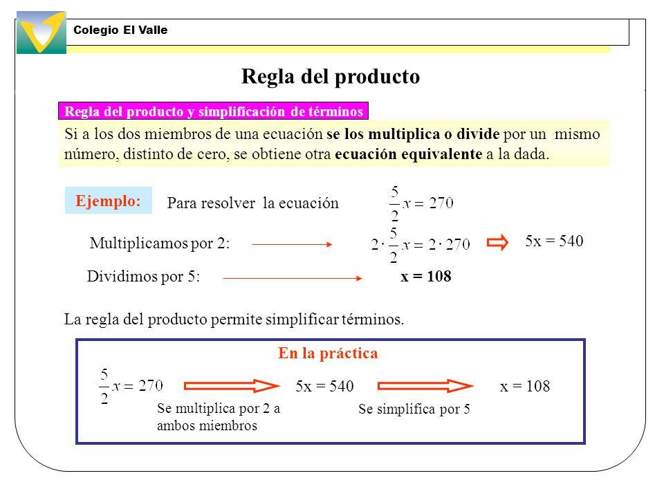 Regla del producto Si a los dos miembros de una ecuación se los multiplica o divide por un mismo número, distinto de cero, se obtiene otra ecuación equivalente a la dada.