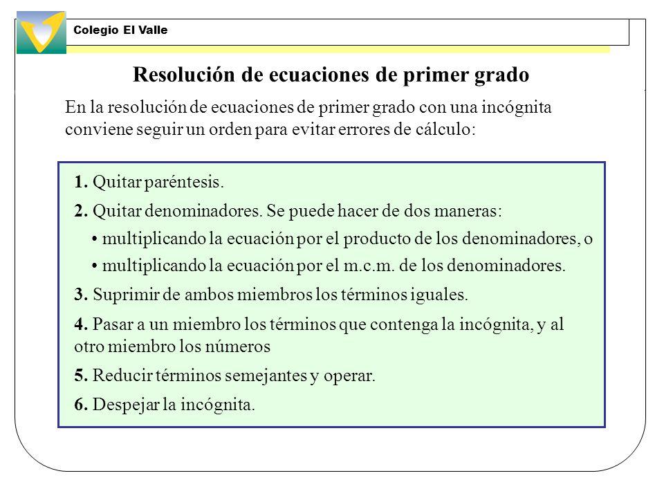 Resolución de ecuaciones de primer grado 1.Quitar paréntesis.