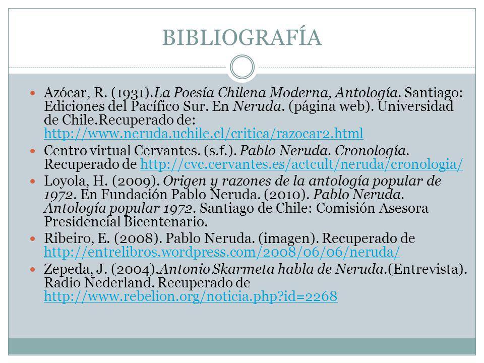 BIBLIOGRAFÍA Azócar, R. (1931).La Poesía Chilena Moderna, Antología. Santiago: Ediciones del Pacífico Sur. En Neruda. (página web). Universidad de Chi