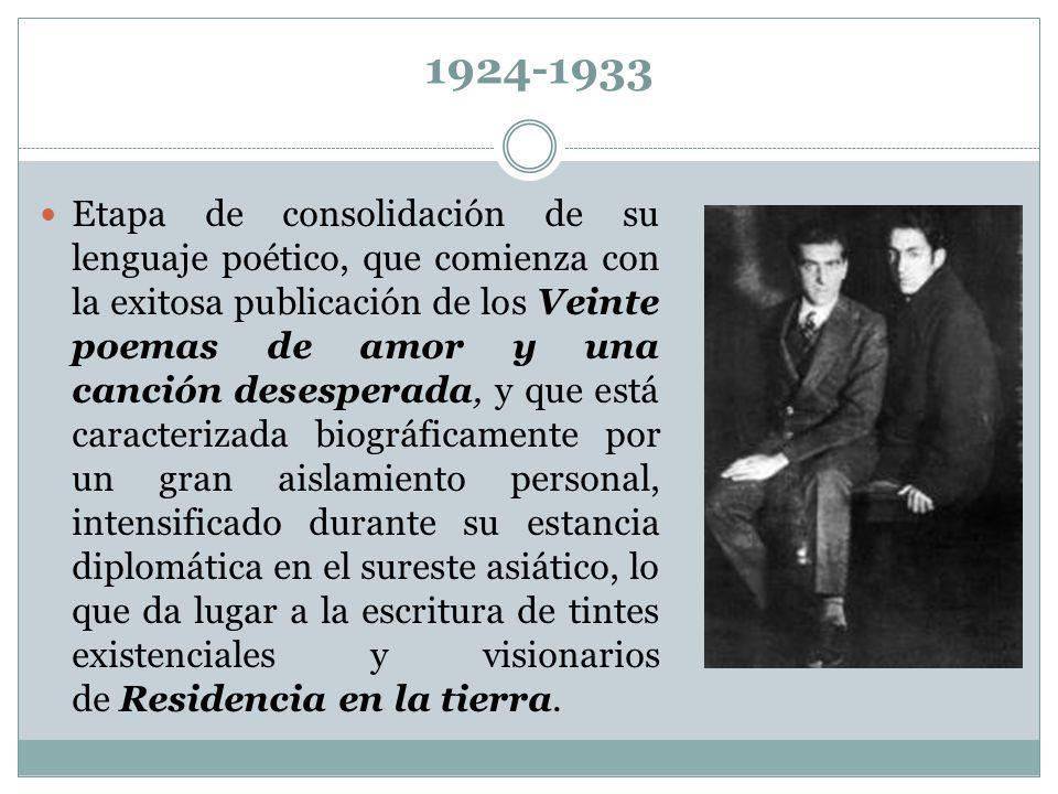 1924-1933 Etapa de consolidación de su lenguaje poético, que comienza con la exitosa publicación de los Veinte poemas de amor y una canción desesperad
