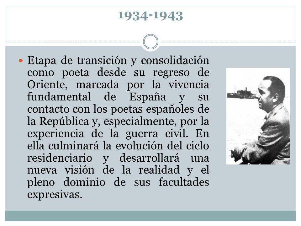 1934-1943 Etapa de transición y consolidación como poeta desde su regreso de Oriente, marcada por la vivencia fundamental de España y su contacto con