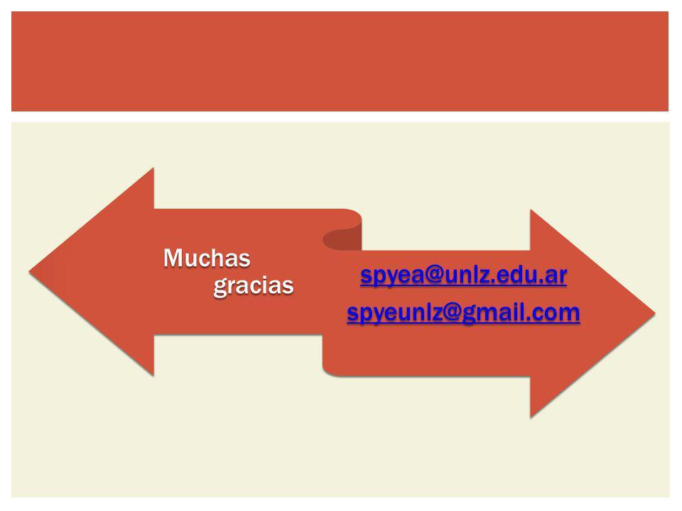 Muchas gracias spyea@unlz.edu.ar spyeunlz@gmail.com