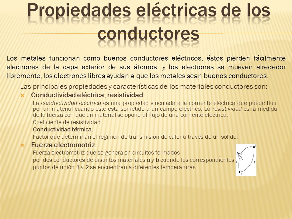 Las principales propiedades y características de los materiales conductores son: Conductividad eléctrica, resistividad.