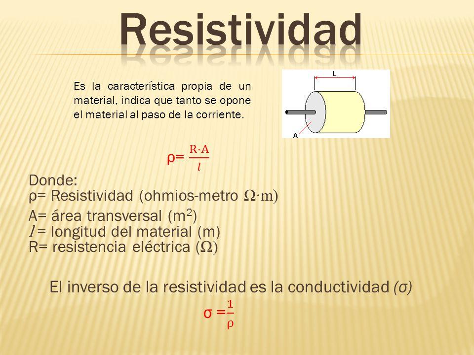 Es la característica propia de un material, indica que tanto se opone el material al paso de la corriente.