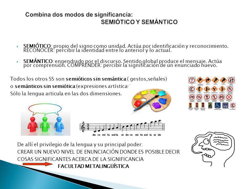 SEMIÓTICO: propio del signo como unidad.Actúa por identificación y reconocimiento.