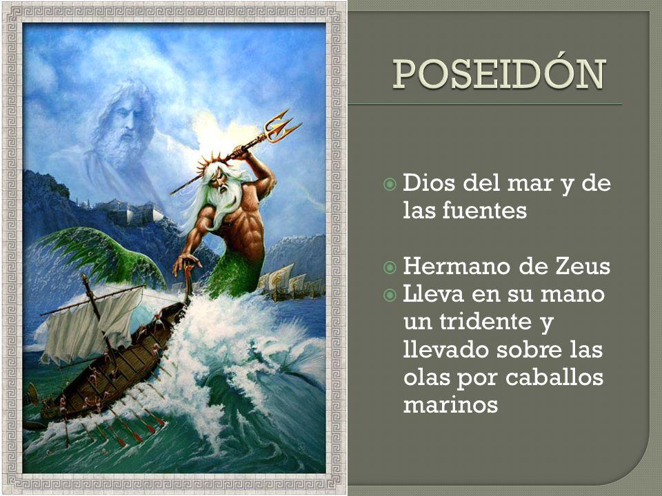 Dios del mar y de las fuentes Hermano de Zeus Lleva en su mano un tridente y llevado sobre las olas por caballos marinos