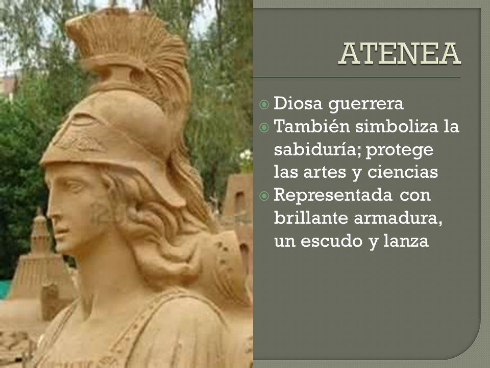 Diosa guerrera También simboliza la sabiduría; protege las artes y ciencias Representada con brillante armadura, un escudo y lanza