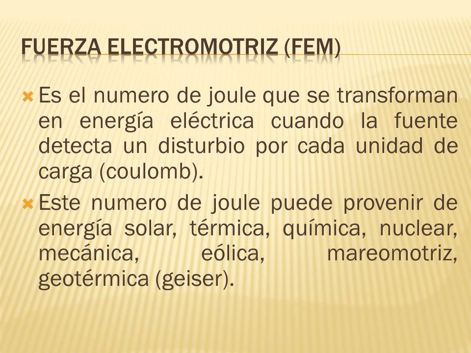 Es el numero de joule que se transforman en energía eléctrica cuando la fuente detecta un disturbio por cada unidad de carga (coulomb). Este numero de