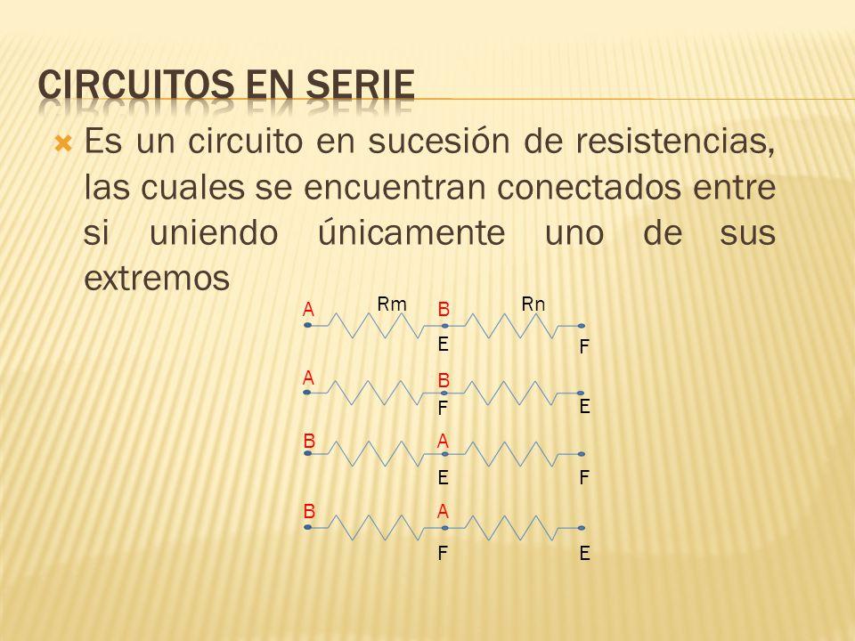 Es un circuito en sucesión de resistencias, las cuales se encuentran conectados entre si uniendo únicamente uno de sus extremos Rm Rn AB E F A B F E B