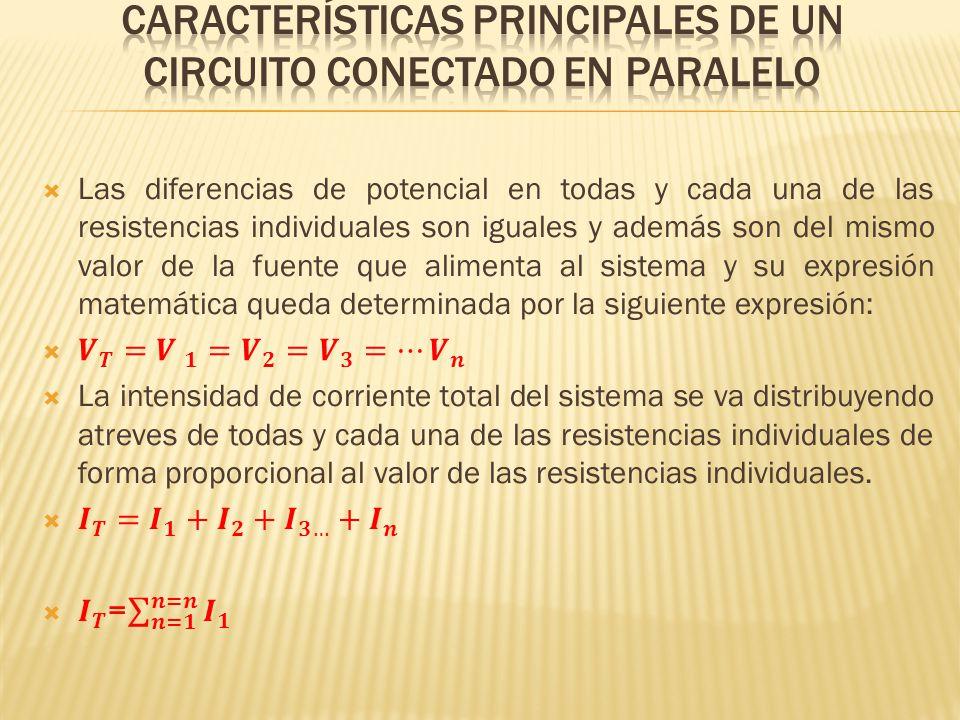 La resistencia total del sistema queda determinada por la inversa de la suma de las inversas y su expresión matemática es: Para el caso en particular de un circuito conectado en paralelo en donde existen dos resistencias se puede proceder de forma abreviada de la siguiente manera: