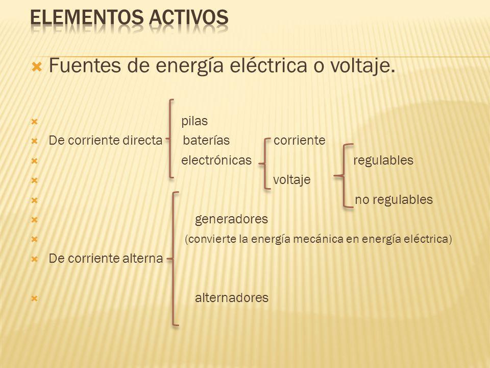 Fuentes de energía eléctrica o voltaje. pilas De corriente directa baterías corriente electrónicas regulables voltaje no regulables generadores (convi