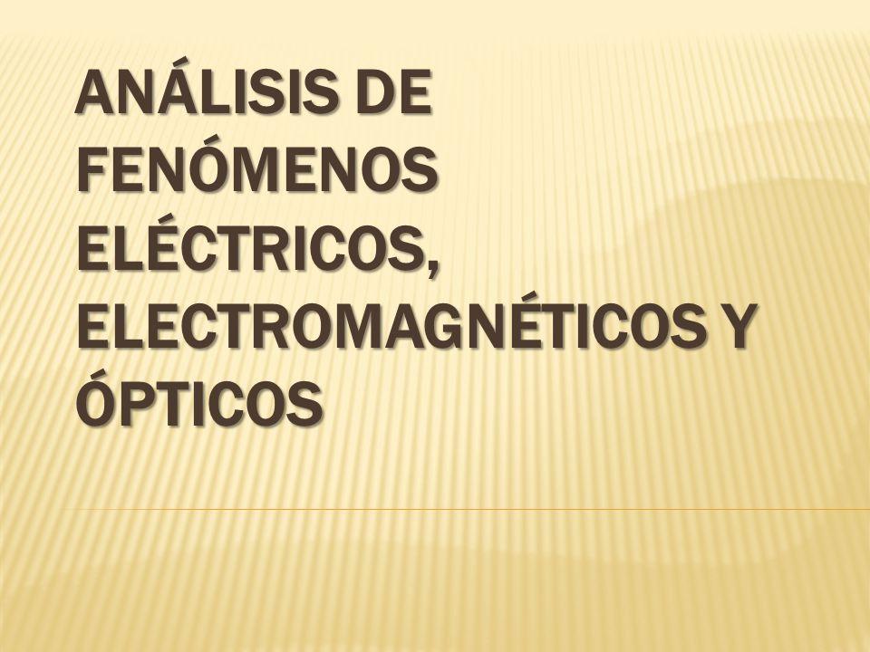 ANÁLISIS DE FENÓMENOS ELÉCTRICOS, ELECTROMAGNÉTICOS Y ÓPTICOS