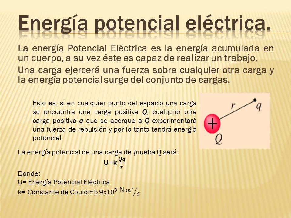 La energía Potencial Eléctrica es la energía acumulada en un cuerpo, a su vez éste es capaz de realizar un trabajo. Una carga ejercerá una fuerza sobr