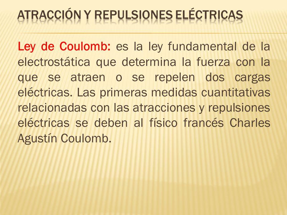 Ley de Coulomb: es la ley fundamental de la electrostática que determina la fuerza con la que se atraen o se repelen dos cargas eléctricas. Las primer
