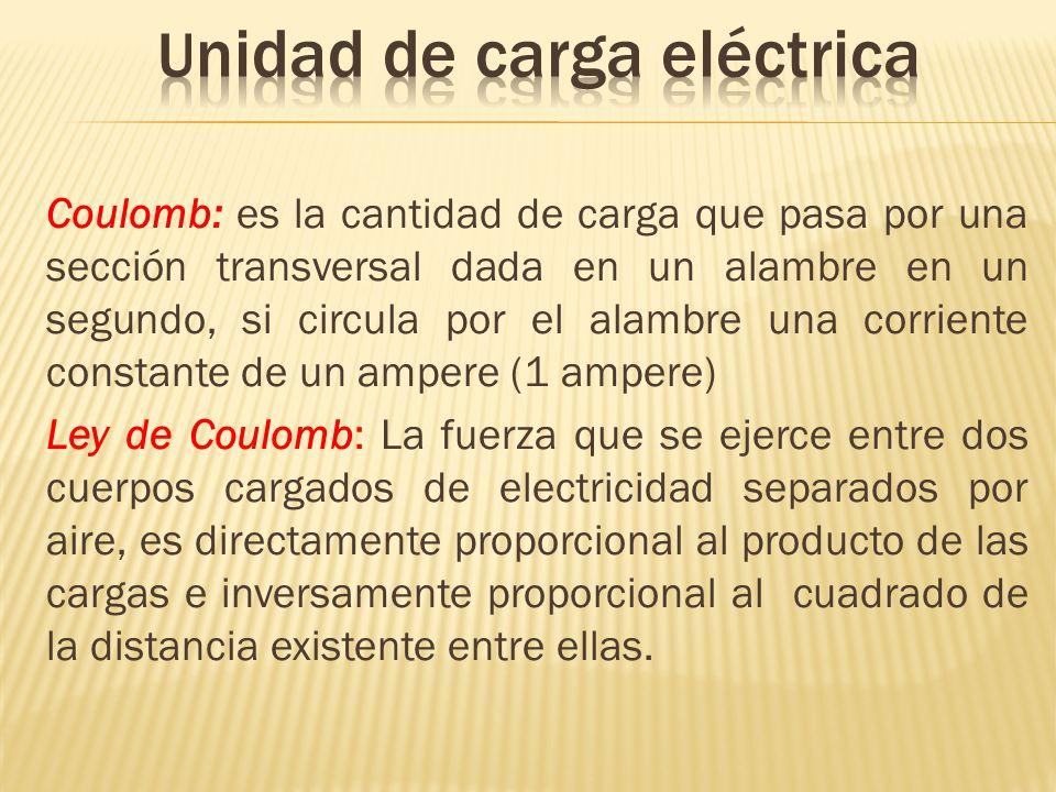 Coulomb: es la cantidad de carga que pasa por una sección transversal dada en un alambre en un segundo, si circula por el alambre una corriente consta