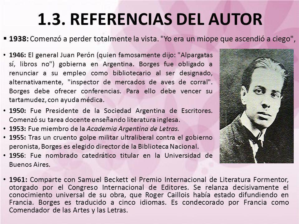 1.3. REFERENCIAS DEL AUTOR 1938: Comenzó a perder totalmente la vista.