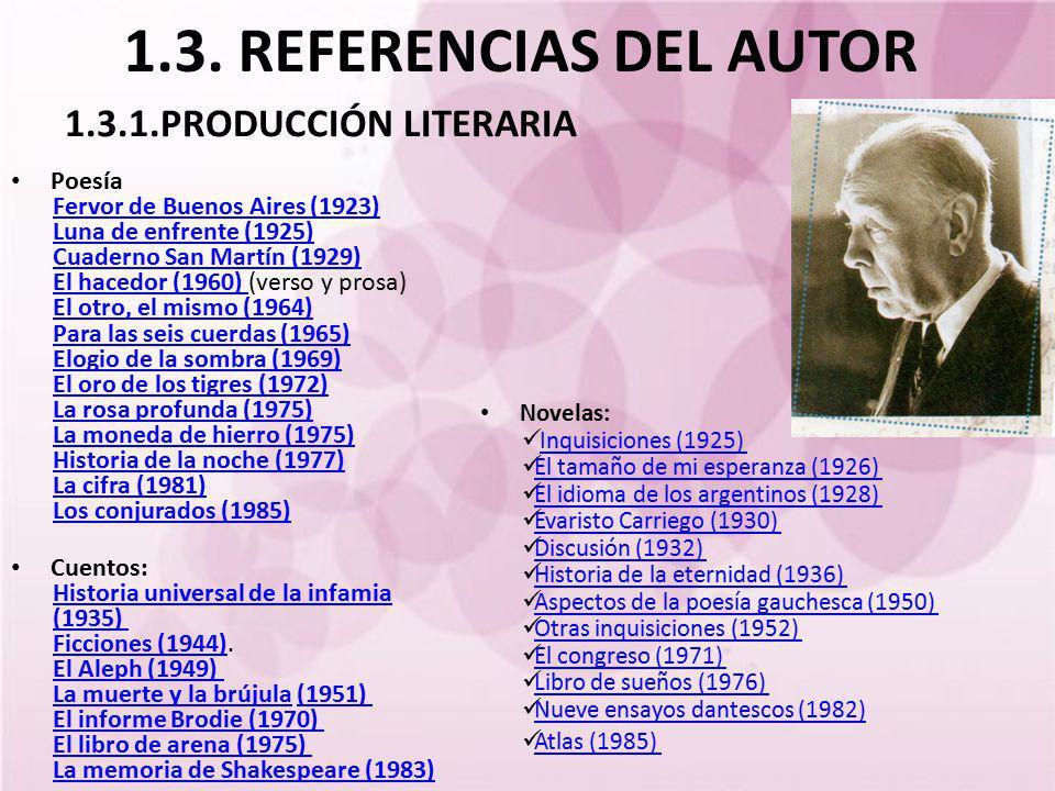 1.3. REFERENCIAS DEL AUTOR Poesía Fervor de Buenos Aires (1923) Luna de enfrente (1925) Cuaderno San Martín (1929) El hacedor (1960) El hacedor (1960)