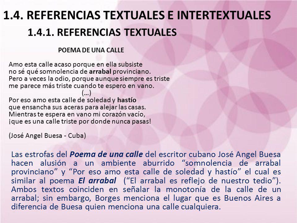 1.4. REFERENCIAS TEXTUALES E INTERTEXTUALES Las estrofas del Poema de una calle del escritor cubano José Angel Buesa hacen alusión a un ambiente aburr