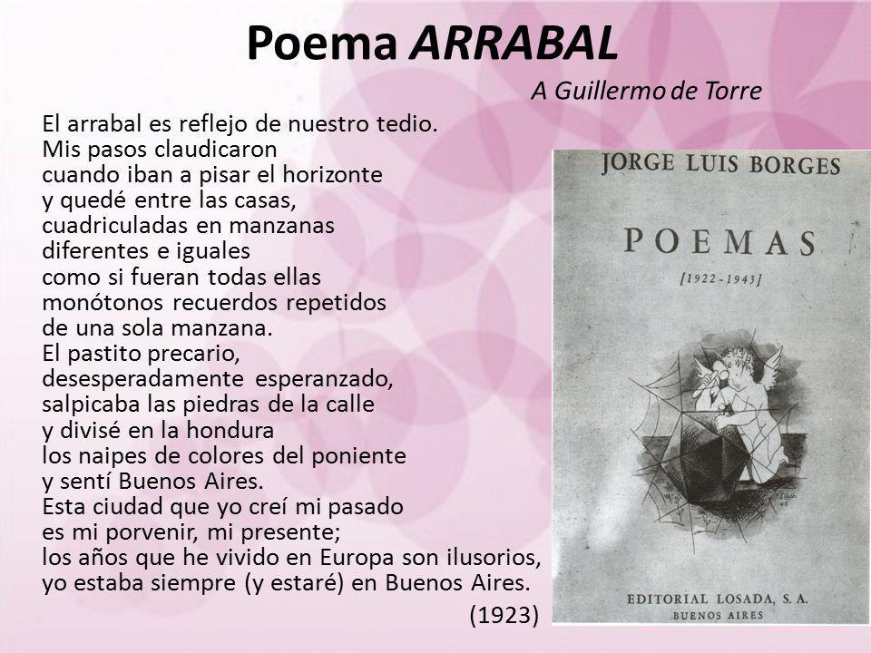 Poema ARRABAL A Guillermo de Torre El arrabal es reflejo de nuestro tedio. Mis pasos claudicaron cuando iban a pisar el horizonte y quedé entre las ca