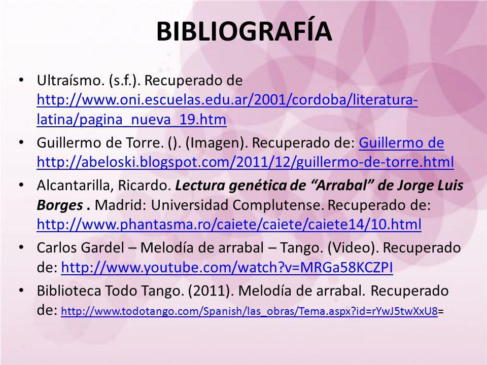 BIBLIOGRAFÍA Ultraísmo. (s.f.). Recuperado de http://www.oni.escuelas.edu.ar/2001/cordoba/literatura- latina/pagina_nueva_19.htm http://www.oni.escuel