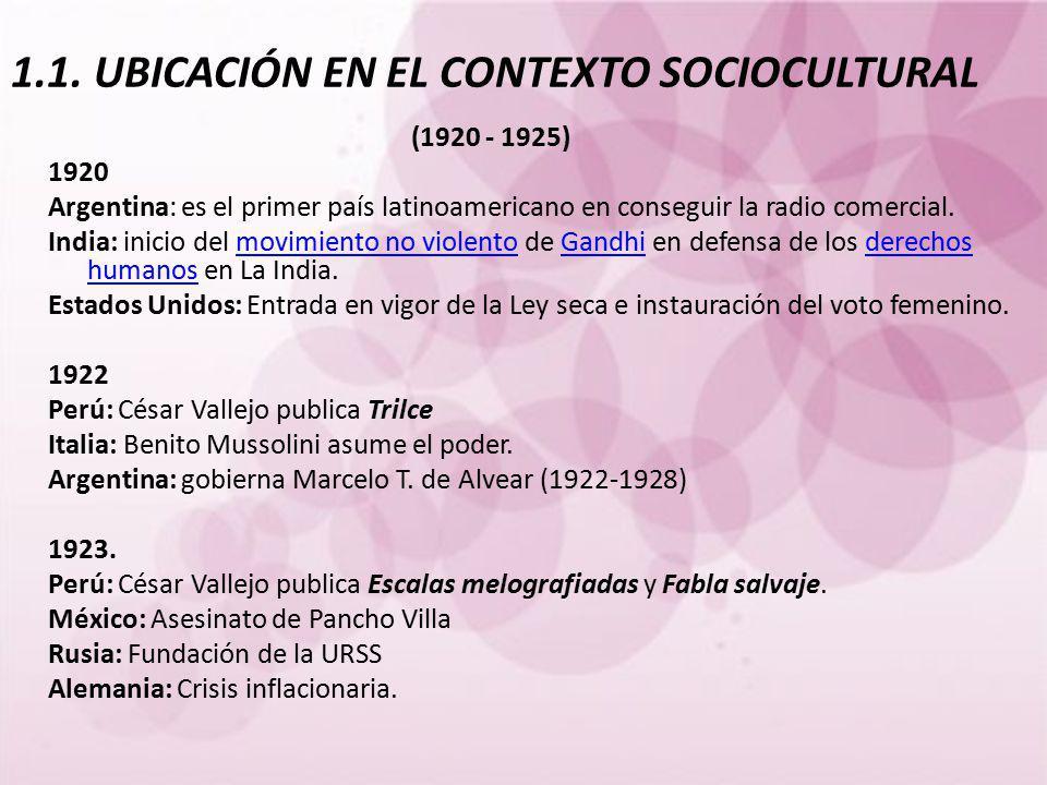 1.1. UBICACIÓN EN EL CONTEXTO SOCIOCULTURAL (1920 - 1925) 1920 Argentina: es el primer país latinoamericano en conseguir la radio comercial. India: in