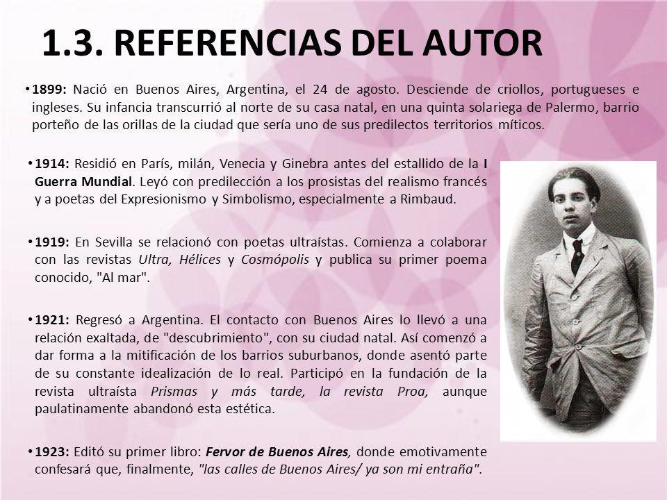 1.3. REFERENCIAS DEL AUTOR 1899: Nació en Buenos Aires, Argentina, el 24 de agosto. Desciende de criollos, portugueses e ingleses. Su infancia transcu